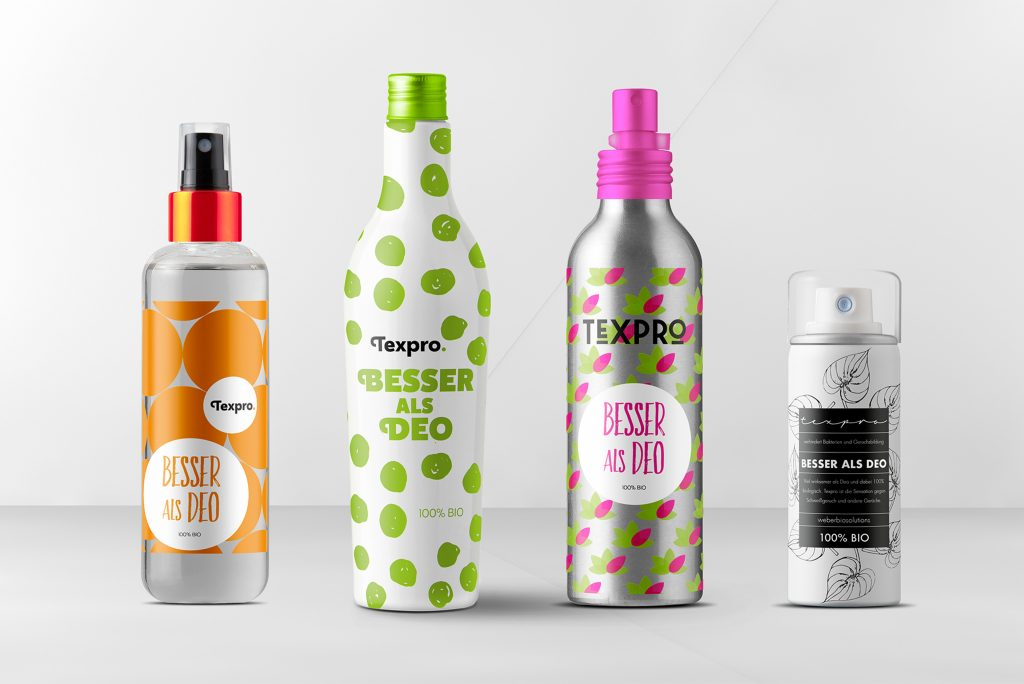 Verpackungen für ein Hygieneprodukt in Zusammenhang mit Textilien